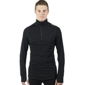 ioMerino Altitude Mens Zip Base Layer Long Sleeve Top - Black
