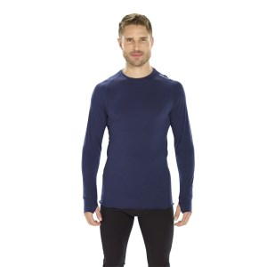 ioMerino Altitude Mens Crew Neck Base Layer Top - Navy Blue