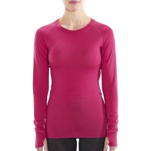 ioMerino Altitude Womens Crew Neck Base Layer Long Sleeve Top - Raspberry