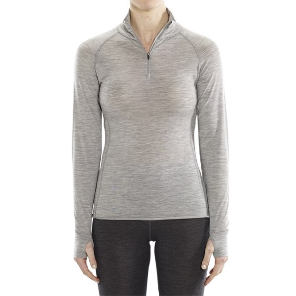 ioMerino Altitude Womens Thermal Base Layer Long Sleeve Zip Top - Grey