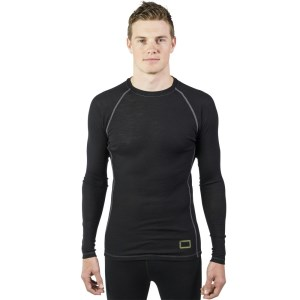 ioMerino Vital Mens Long Sleeve Thermal Top - Black/White