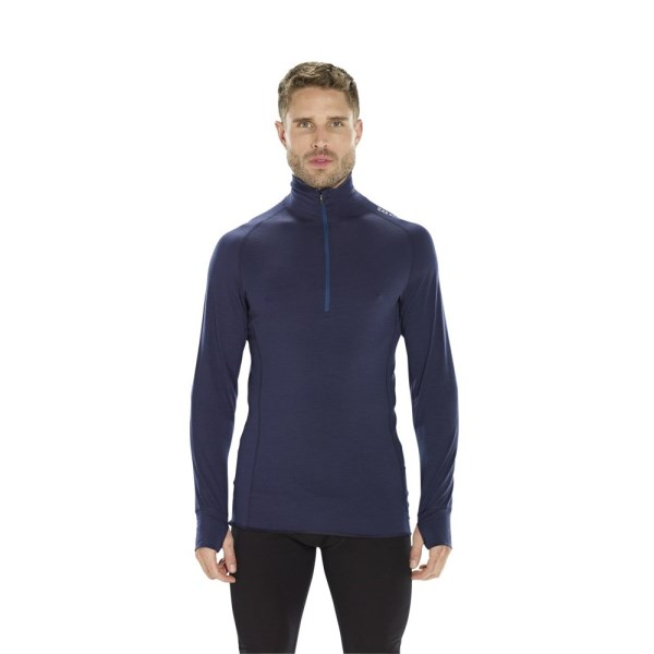 ioMerino Altitude Mens Zip Base Layer Long Sleeve Top - Navy Blue