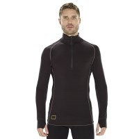 ioMerino Altitude Mens Zip Base Layer Long Sleeve Top - Black/White
