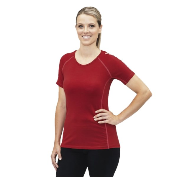 ioMerino Altitude Womens Active Base Layer T-Shirt - Red/Raspberry Stitch