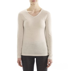 ioMerino Rapids Womens V-Neck Long Sleeve Base Layer Top - Pearl