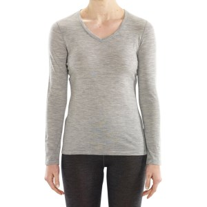 ioMerino Rapids Womens V-Neck Long Sleeve Base Layer Top - Grey Melange