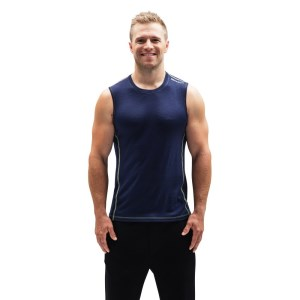 ioMerino Altitude Mens Base Layer Tank Top - Navy/Lime
