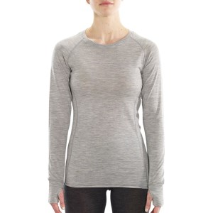 ioMerino Altitude Womens Crew Neck Base Layer Long Sleeve Top - Grey Melange